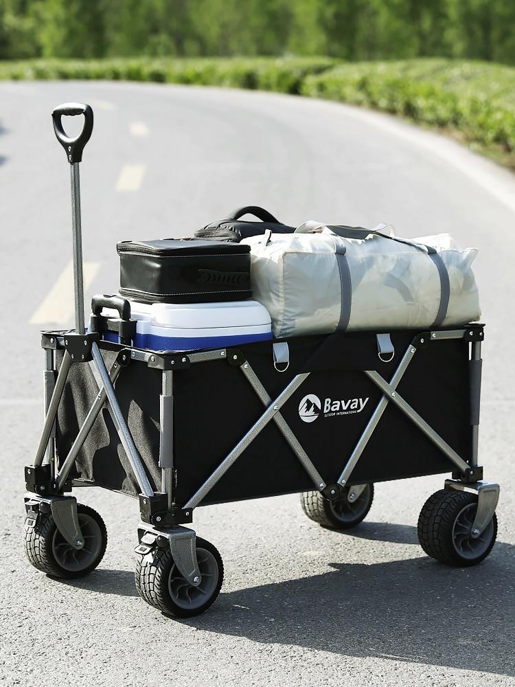 Folding Wagon Push Cart Portable Rolling Lightweight Beach Outdoor Garden Picnic Heavy Duty Shopping Cart Wagons Table Top