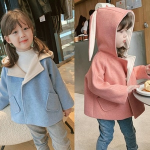 Girls' coat with big ears and woolen cloth with cotton padded coat winter clothes new children's clothing