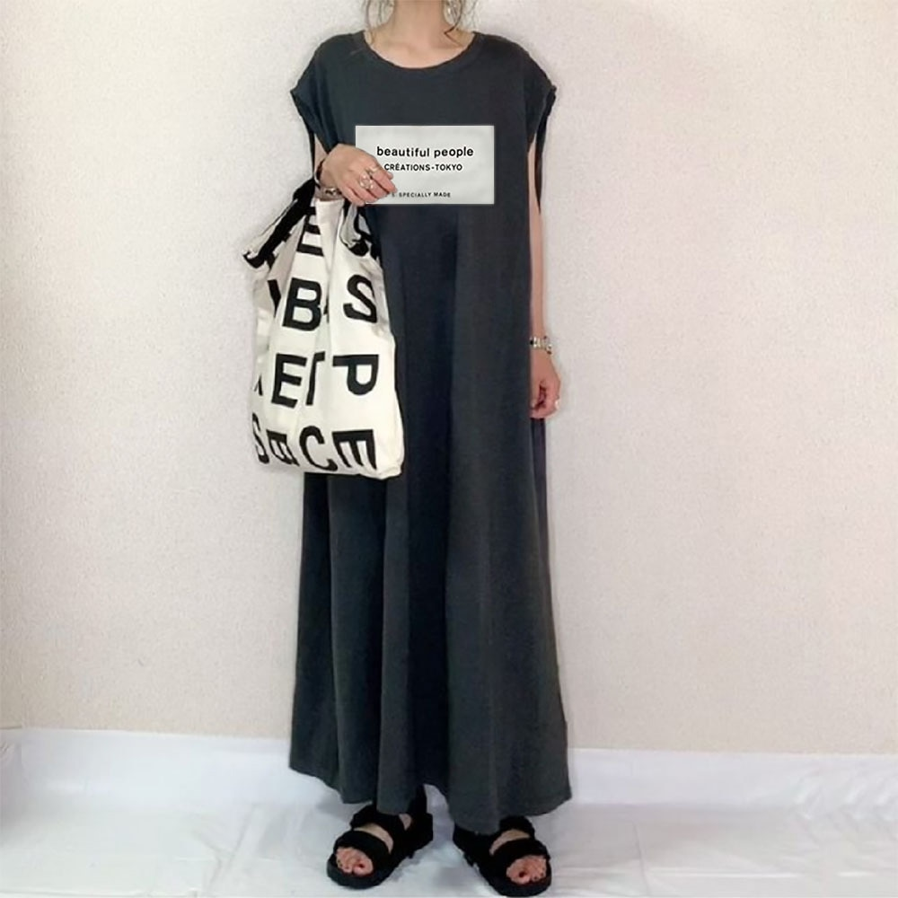 Japanese Style Summer 2021 New Retro Design Temperament Letter Printing Solid Color Round Neck Loose