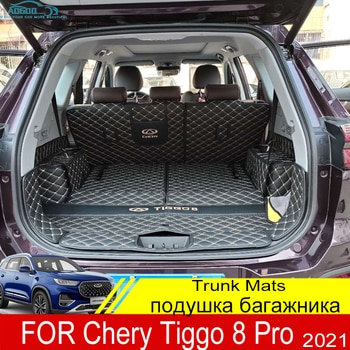 For Chery Tiggo 8 Pro 2021 Trunk Mats Leather Durable Cargo Liner Boot Carpets Rear Film Interior Decoration Accessories Cover