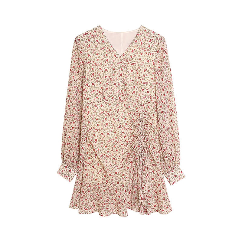 2021 Spring And Autumn High-Waisted Chiffon New Style Elegant Goddess-Style Long Sleeve Floral-Print Full Body Dress Slimming