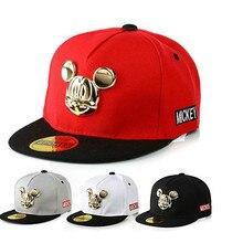 Spring Summer Gorras 100%cotton Pu Leather Baseball Cap Children's Baby Hip-hop Hat Boys Girls Snapback Cartoon Mickey Caps