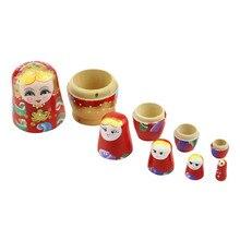 Ensemble de 5 pièces de poupées en bois peint à la main, cadeau peint à la main, nid russe Babushka