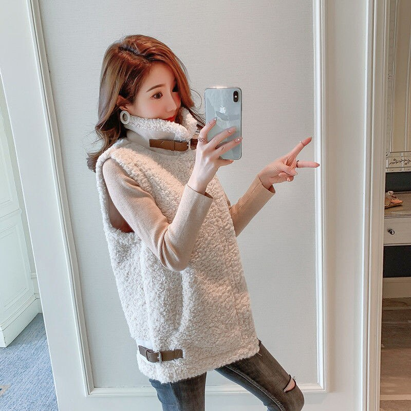 Alta qualidade do falso cordeiro pele colete 2021 outono nova moda coreana sem mangas colete mais tamanhos 2xl inverno casaco quente