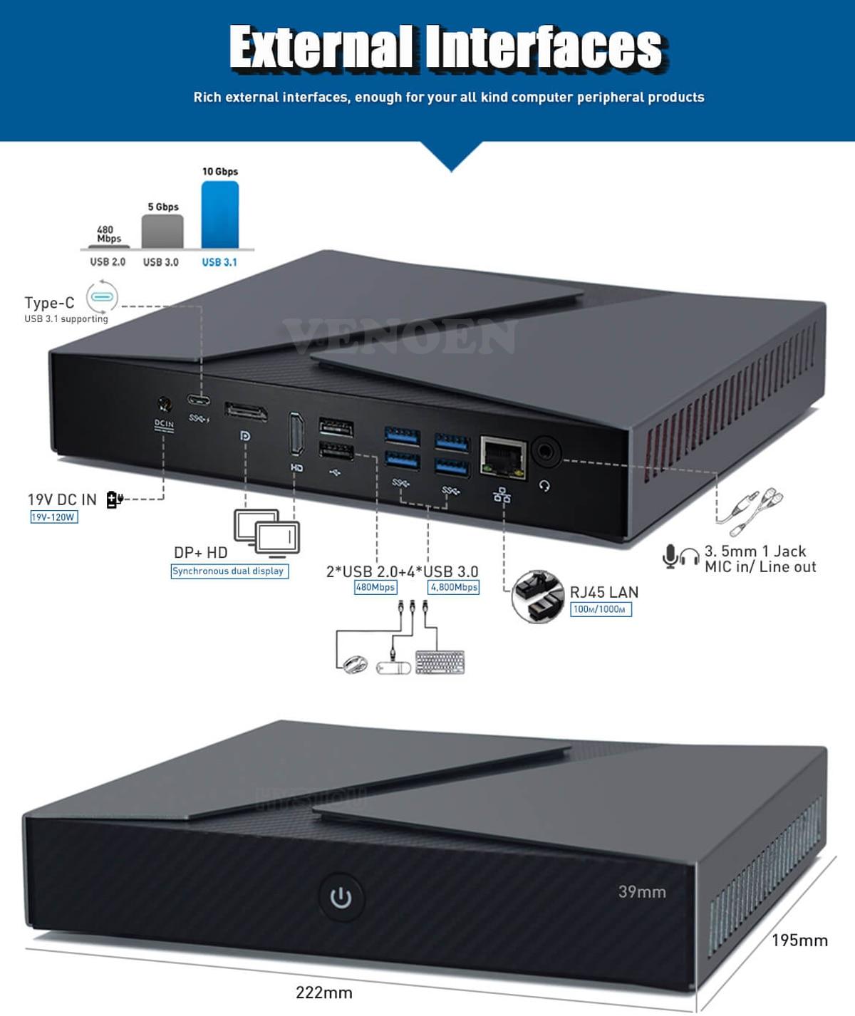 Mini Gaming computer Intel Core i9 9880H 8950HK Type-c Linux GTX1650 4G HDMI DP Desktop mini pc Office ITX PC WiFi AC BT4.0