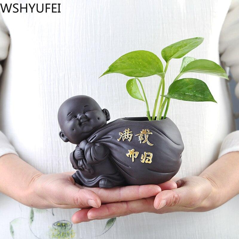 Estatueta Ornamentos de Vaso de Flores Cerâmica Pequeno Buda Estátua  Decoração Acessórios 1 Pçs