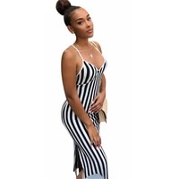 rstylish 2021 summer women sexy v neck striped hip package sleeveless spaghetti strap backless party club long maxi dress