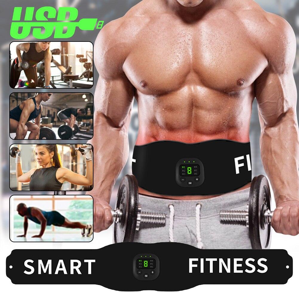 Electronic Abdominal Muscle Stimulator Smart Fitness Ab Belt Abs Stimulator Toning Belt Body Slimming Belt Weight Loss Men Women