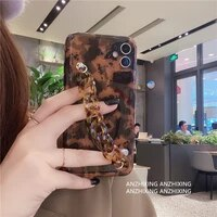 silicone phone case with diamond and marble ring holder european and american leopard print suitable for apple 12promax phone