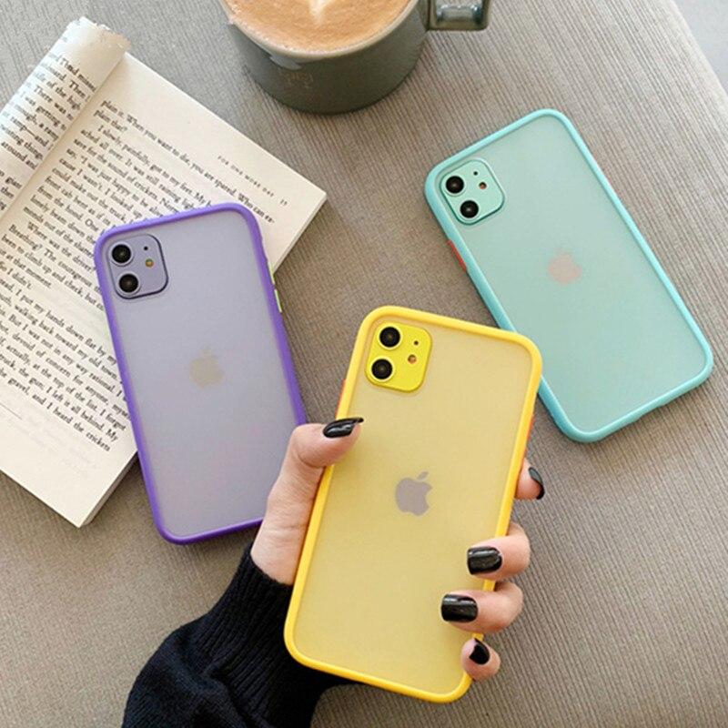 Mint Hybrid Simple Matte funda de teléfono para iPhone 11 Pro X XR XS Max 6 7 8 Plus de lujo contraste de Color parachoques claro suave contraportada