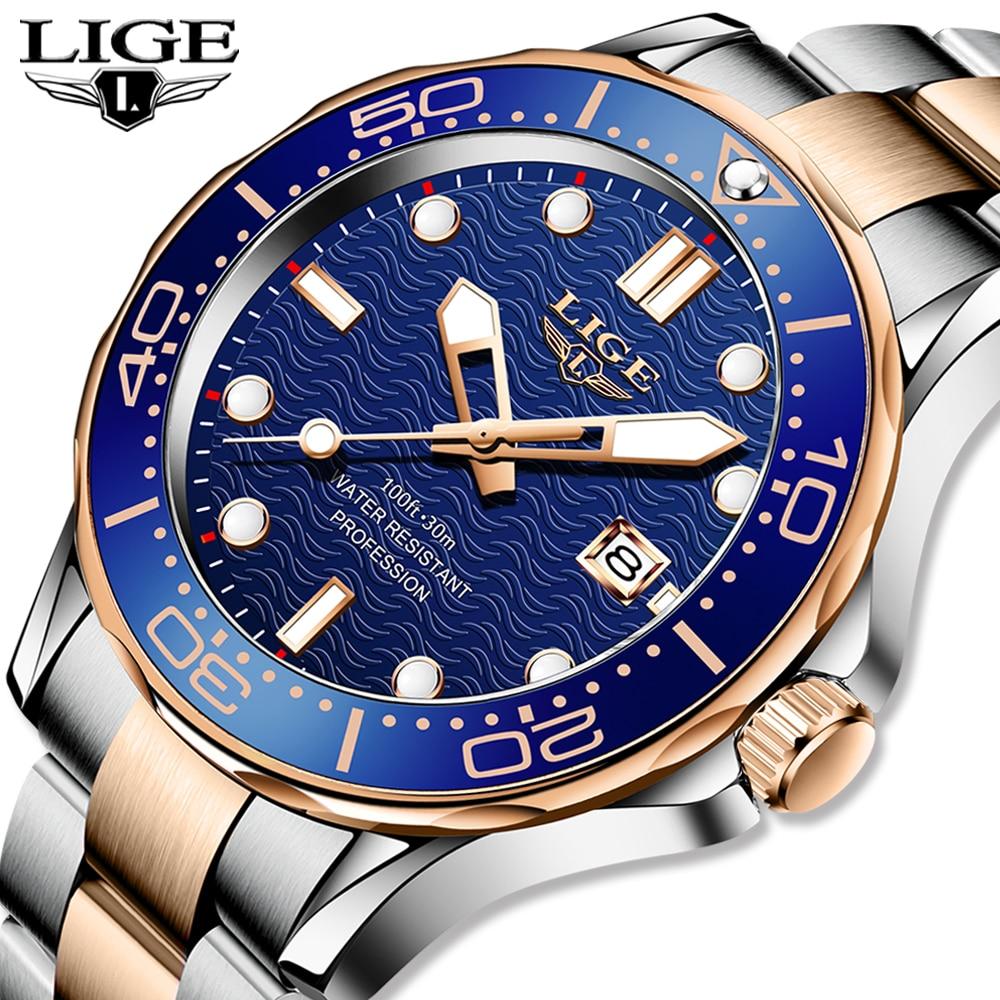 2021 LIGE العلامة التجارية الفاخرة ساعة للرجال الفولاذ المقاوم للصدأ مقاوم للماء على مدار الساعة ساعات رياضية رجالي كوارتز ساعة اليد Relogio Masculino