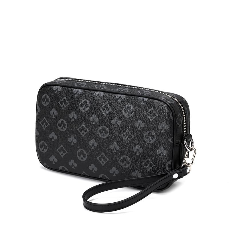 Mjzkxqz Men's Clutch Wrist Leather 2021 Retro Flower Handbag Mobile Phone Bag Zipper Wallet Coin Bag Clutch clutch purse zipper chains magnetic closure clutch bag