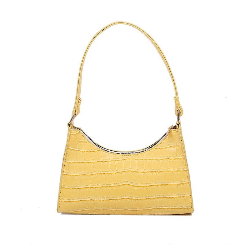 Stone Pattern Small Baguette Ladies Shoulder Bag Brand Designer 2021 Bolsas Femininas De Luxo Baratas De Marcas Famosas Couro