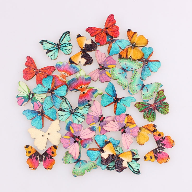 aliexpress.com - Pretty Butterfly Mixed 2Hole Wooden Buttons Christmas DIY Decor Child Clothes Sewing Buttons Crafts Scrapbooking Accessories E
