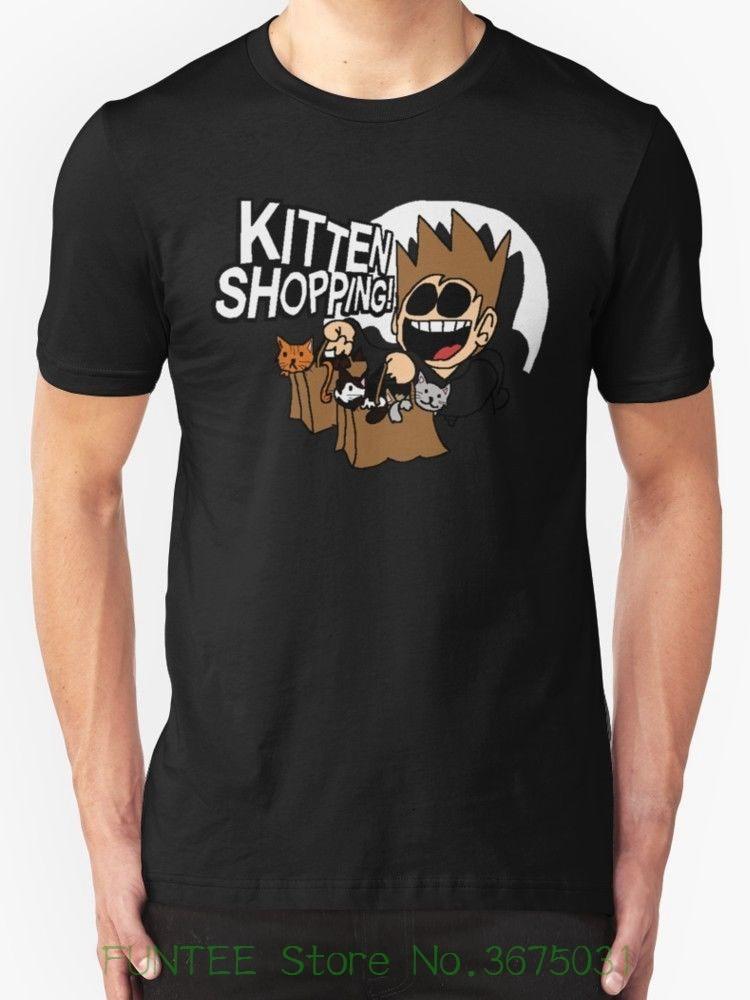 Camisetas de manga corta de verano S ~ 3xl camisetas de algodón de tamaño grande envío gratis Eddsworld compra de gatitos nueva camiseta negro para hombre