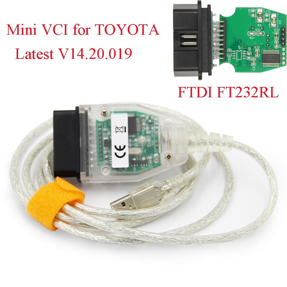 MINI VCI para TOYOTA TIS Techstream v14.2019, minivci FTDI para J2534 OBD OBD2, herramienta de diagnóstico automático de coche, Cable de MINI-VCI