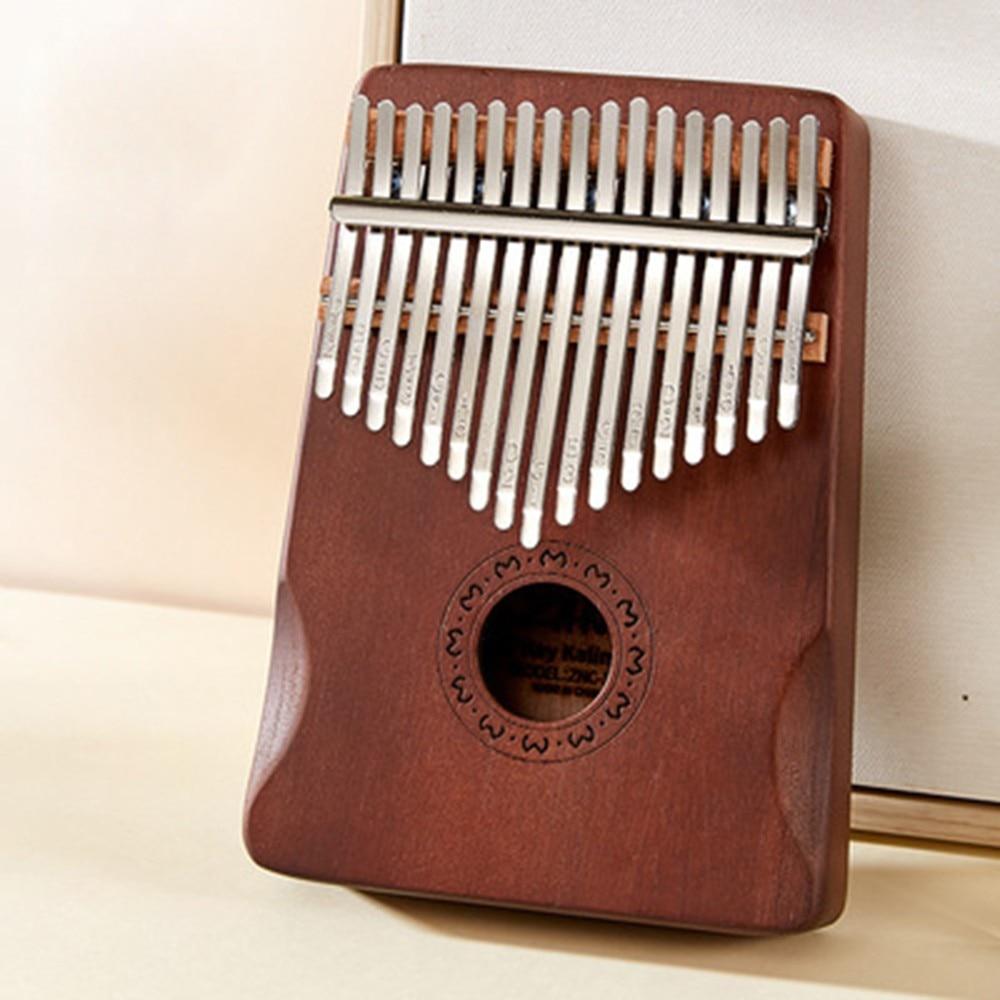 Mahogany Kalimba 17 Key Thumb Piano W/ Tuning Hammer Sticking Note Polishing Cloth Tuning Keys Instrument Keyboard Pronunciation