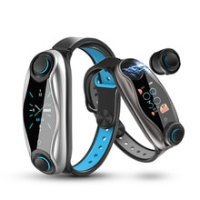 T90 Smart Armband Mit Drahtlose Kopfhörer Bluetooth 5,0 Smart-Armband Fitness Tracker Herz Rate Uhr Für IOS Android Telefon