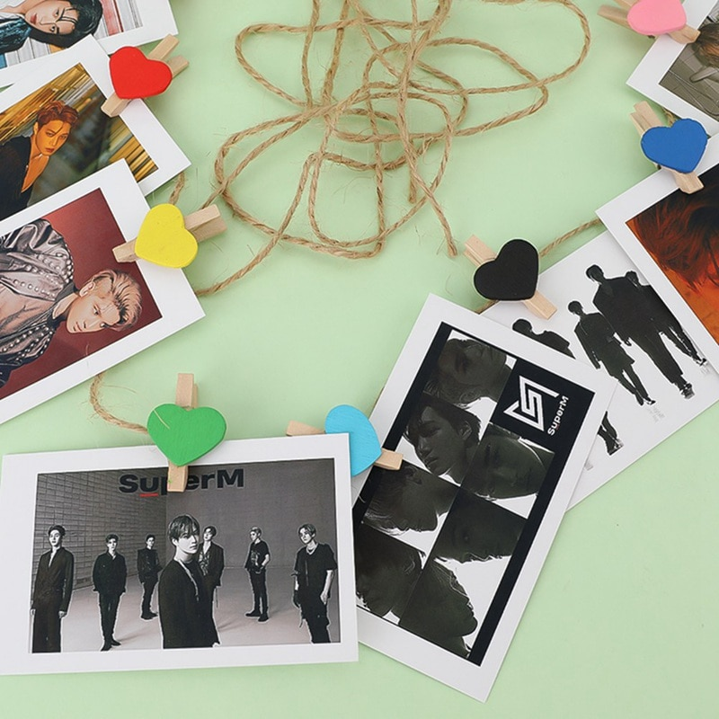 20 unids/set Kpop SuperM Mini álbum SuperM Jopping LOMO tarjeta enviar Clips de cuerda de tarjeta de regalo KAI LUCAS TAEMIN TAEYONG BAEKHYUN LJ801