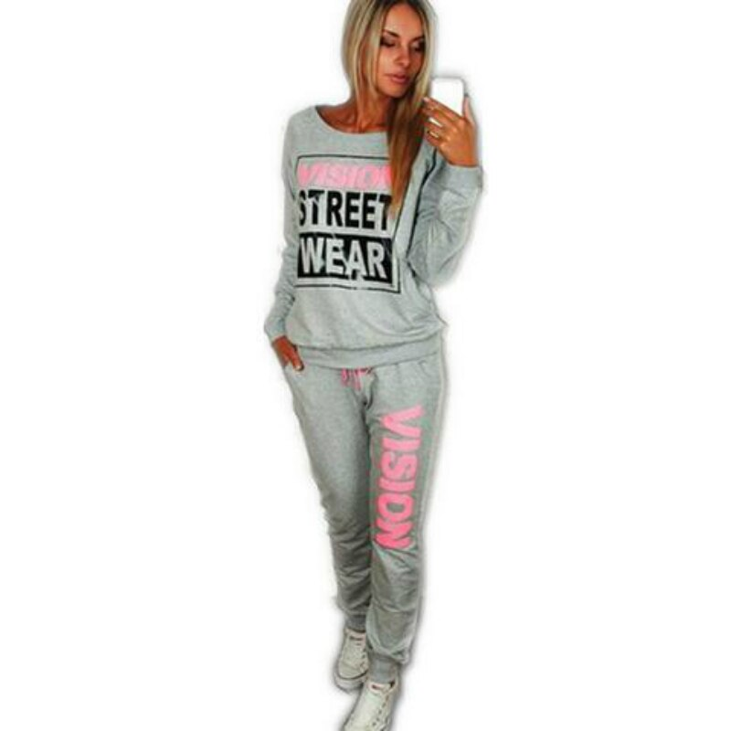 2020 Autumn Winter Fashing New PiNK Vision Street Wear Print Women's Tracksuits O-Neck Suit Set Suits For Women 2Pc