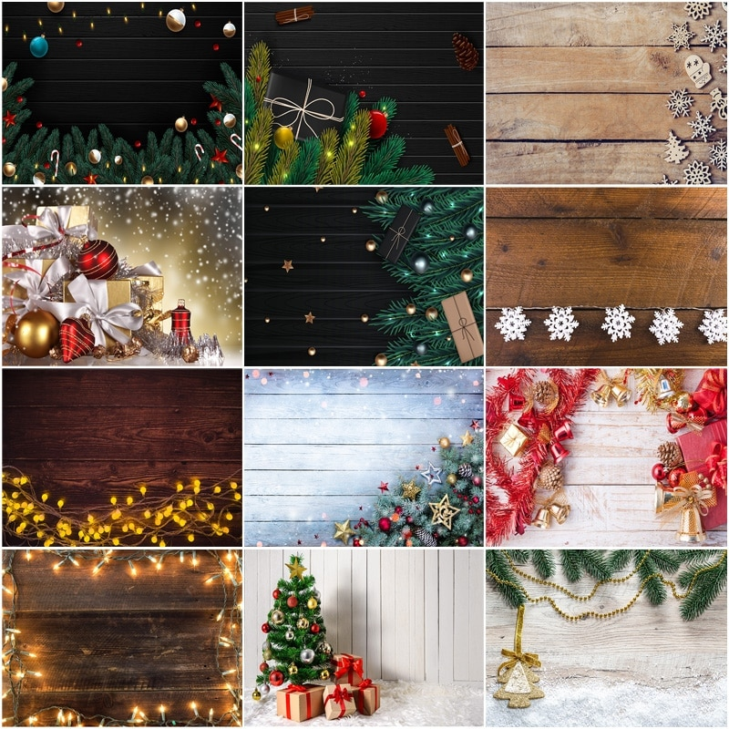 SHUOZHIKE Vinyl Custom Christmas Backdrop for Photography Christmas Gift Photo Backgrounds Photocall Props 210317STY-04 clock decorations fireplace christmas tree wall photography backgrounds vinyl cloth computer printed christmas photo backdrop