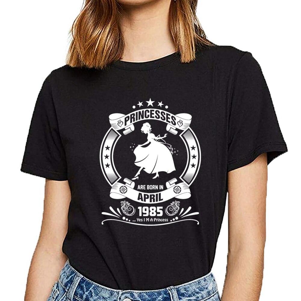 Camiseta para mujer, camiseta blanca de algodón con Humor, de princesa nacida en abril de 1985
