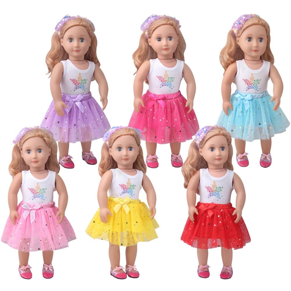 18-inch Girls doll dress Star print dress in many colors fit 40-43 cm baby Boy dolls American doll skirt toys for doll c919 star print american flag swing dress