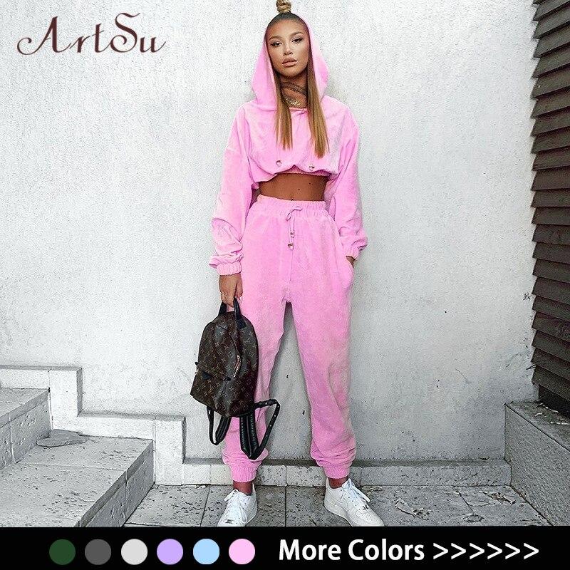 Artsu Flannel 2 Two Piece Set Sport Suit Pink Fleece Crop Top Hoodies Sweat Pants Women Matching Sets Clothing Outfit Sportswear