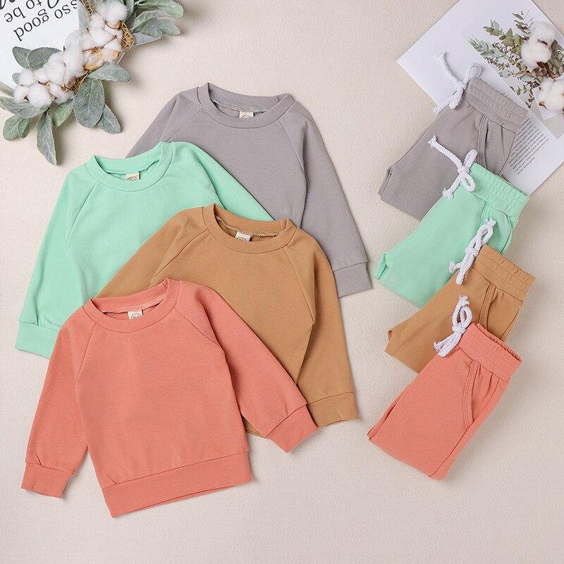 Bear Leader/Новые весенне-осенние однотонные комплекты одежды для новорожденных мальчиков и девочек боди с длинными рукавами, эластичные штаны ...