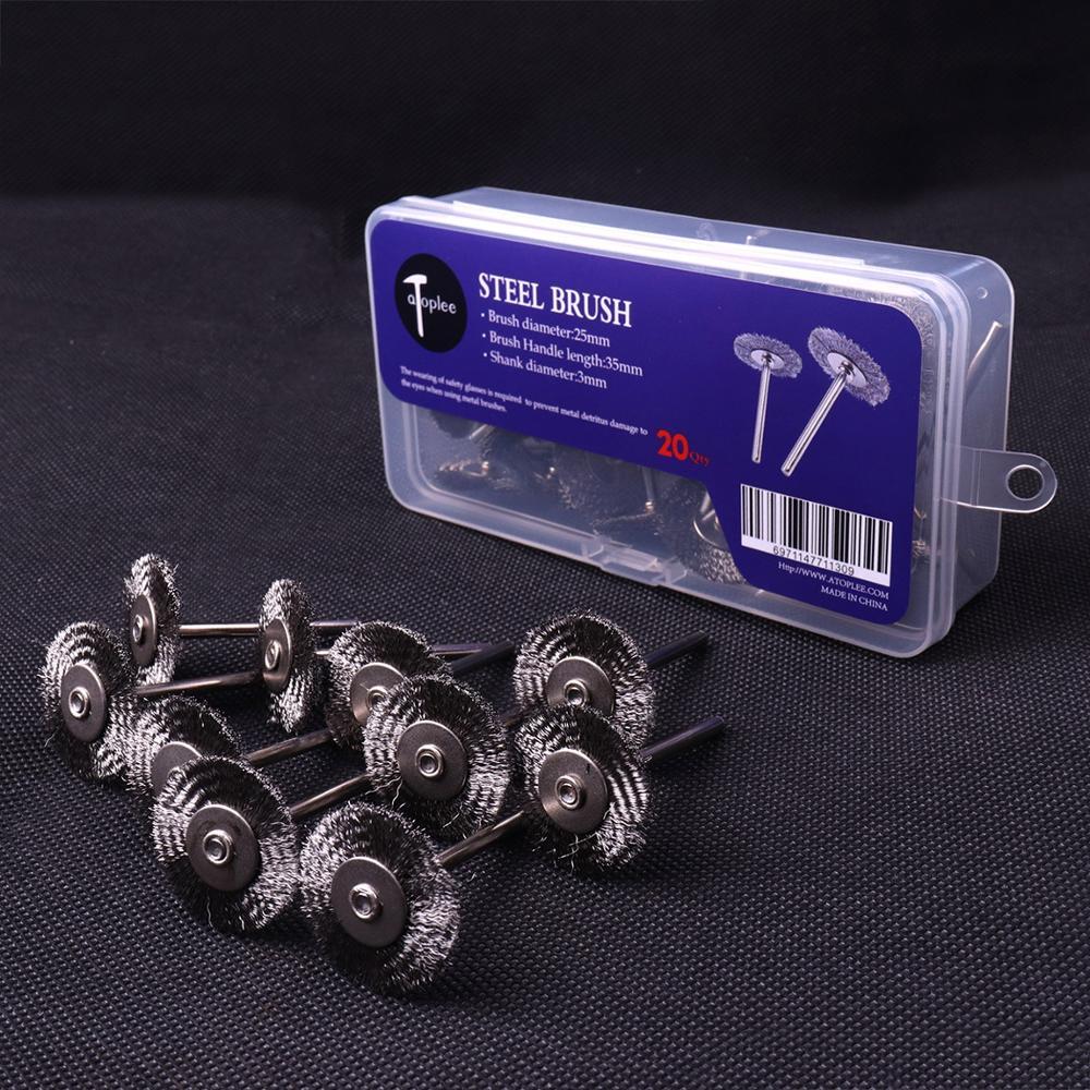 Brochas de rueda de alambre de acero de 25mm CHEERBRIGHT 20 piezas para Mini herramienta de perforación rotativa, eliminación de óxido de Metal, pulido Dremel, Cepillos rotativos
