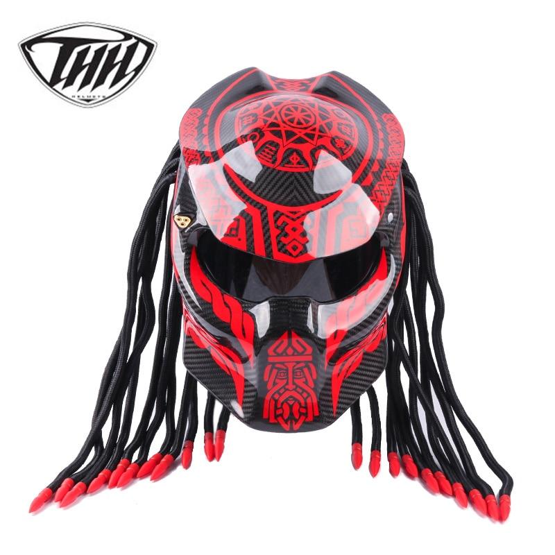 Predator Carbon Fiber Motorcycle Helmet Full Face Iron Warrior Man helmets DOT Certification