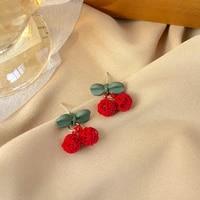 ior ireen s925 needle cute romantic cherry stud earrings for women 2021 fashion children jewelry accessories