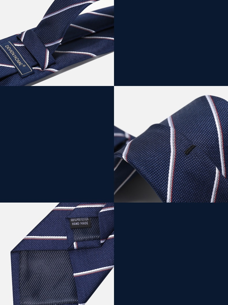 High Quality 2020 Designer New Fashion Navy Blue Striped 8cm Ties for Men Necktie Party Work Business Formal Suit with Gift Box