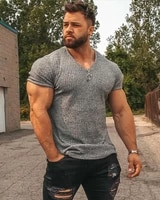 running v neck short sleeve t shirt men fitness slim fit sports strips t shirt fashion tees tops summer knitted gym clothing