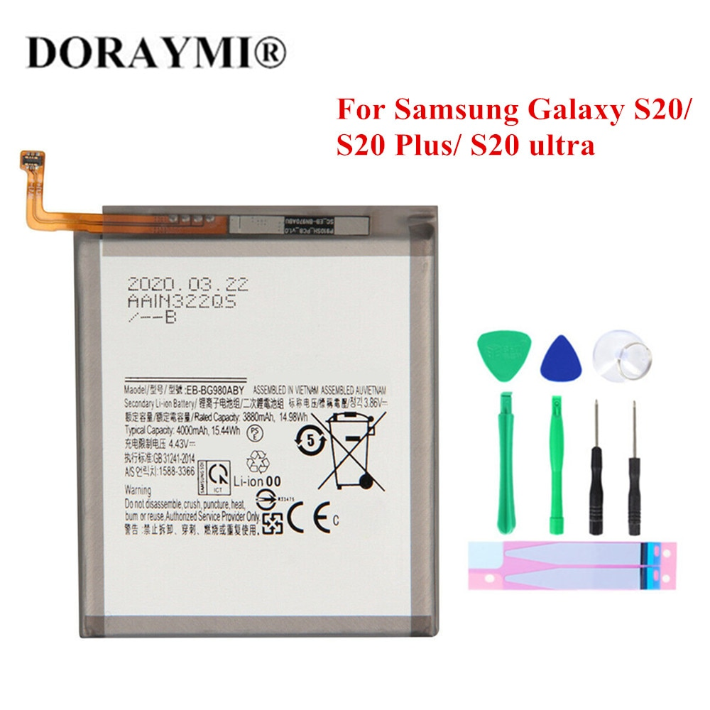 New EB-BG988ABY EB-BG985ABY EB-BG980ABY Battery For Samsung Galaxy S20 / S20 Plus / S20 ultra Phone Replacement Bateria