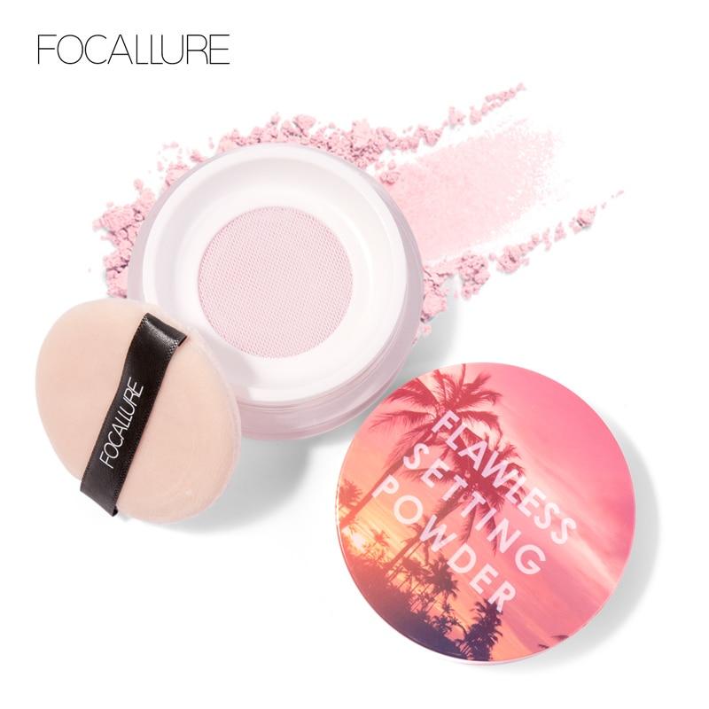 FOCALLURE Brand New Brighten Powder Natural Setting  Light Fine Powder Not Clog Pores Silky Soft Smooth Velvet Face Makeup