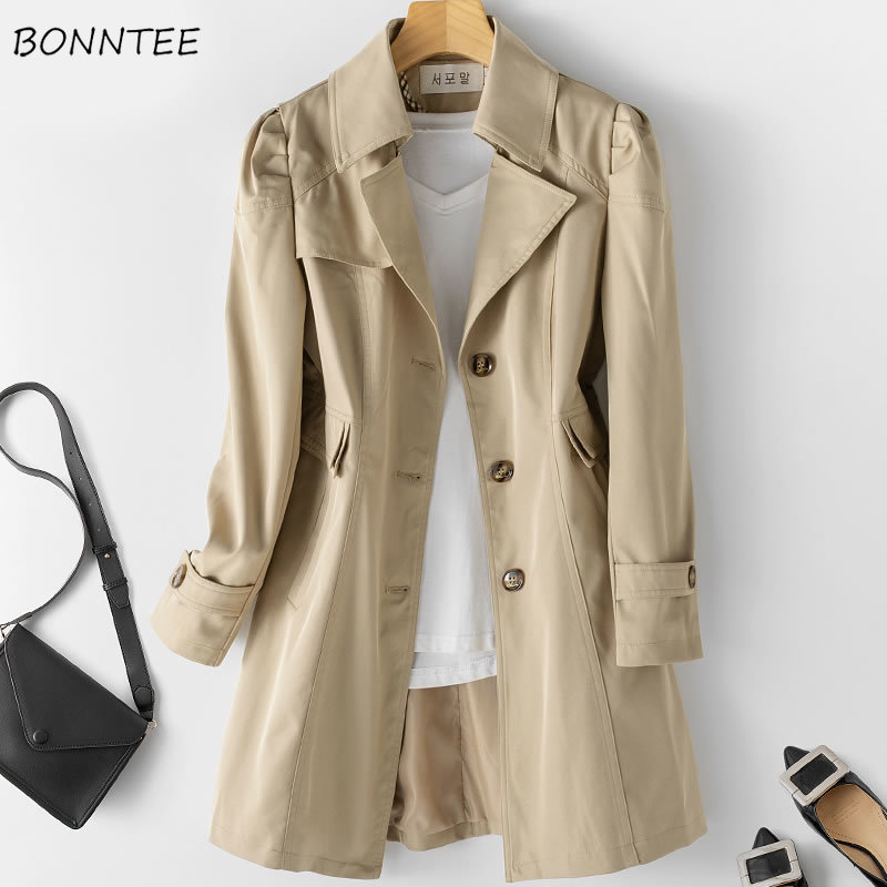 Trench Women Classic Elegant Korean Style High Quality Pockets Single Breasted Large Size 5XL Womens