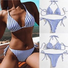 Badeanzug 2021 Frauen Gestreiften Unterwäsche Hohe Taille 2-stück Set Bikini Set Bademode Push Up Badeanzug Bademode Weibliche Bademode