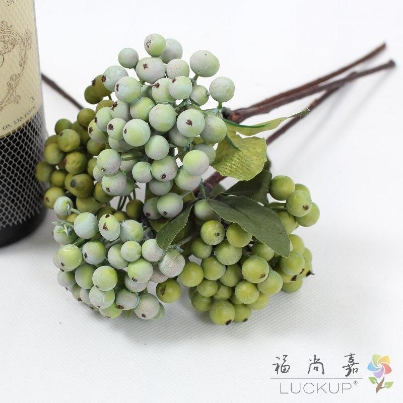 1 PCS Beautiful Artificial Plastic small Green Bush Berry Bouquet Home Wedding Decoration Gift F549