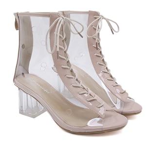 Transparent High Heel Women's Shoes Fish Mouth Sandals Women's Boots Size 34-40