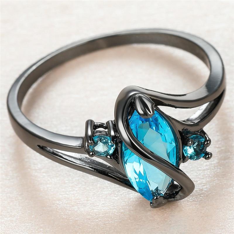 Luxury Female Aqua Blue Crystal Ring Charm 14KT Black Gold Thin Wedding Rings For Women Cute Bride Leaf Zircon Engagement Ring  - buy with discount