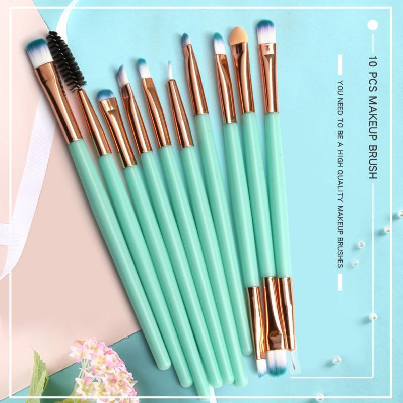10PCS/Set New Nylon Fiber Makeup Brush Set Eye Shadow Brush Eyelash Brush Eyebrow Brush For Women Be