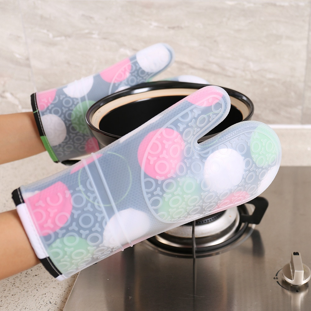 chevron print oven glove 1pc 2PCS Heat Resistant Silicone Kitchen Gloves Oven Mitts Thicker Silicone Cooking Glove Microwave Oven Kitchen Print Gloves
