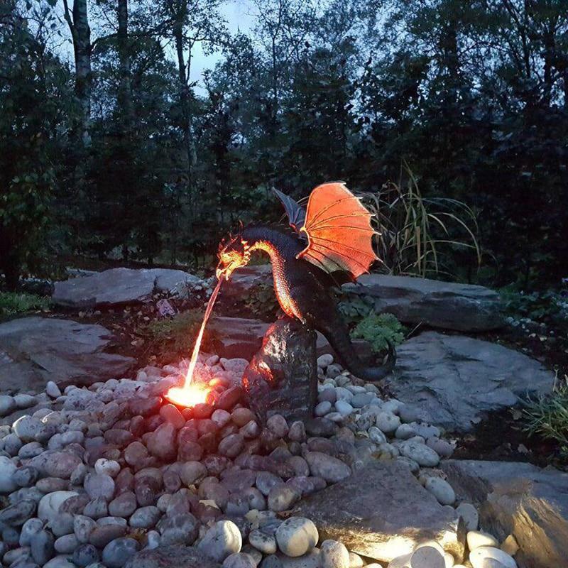 الدقة صب النار التنفس التنين النحت Waterscape الصلبة البرونزية نافورة مهيب التنين النحت ديكور المنزل حديقة