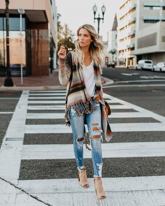Autumn And Winter AliExpress Cape Knit Cardigan Striped Long-Sleeve Tassel Long Plus-size Sweater Jacket