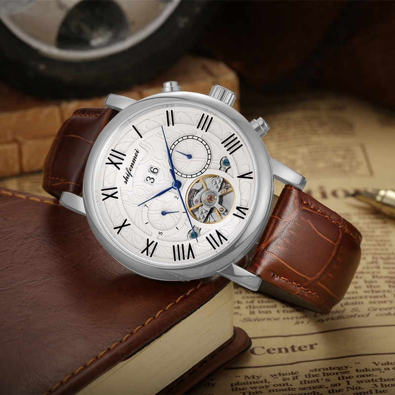 Business casual hollow out automatic mechanical man watches the tourbillon multi-functional leather waterproof watch male money