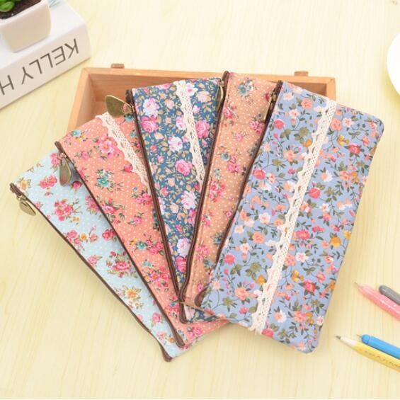 1 unids/lote, bolsas de lona para lápices de encaje Floral, bolsa de lápices para niños, útiles Escolares Kpop, suministros Escolares, papelería de oficina Fournitures