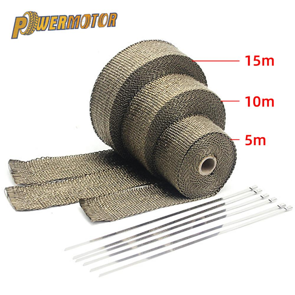 5cm*5M/10M/15M Motorcycle Exhaust Heat Shield Thermal Exhaust Tape Fiberglass Heat Wrap Pipe Heat Insulation with Stainless Ties radiation insulation and moisture proof heat exchanger and waterproof air conditioner tube heat pipe insulation tape