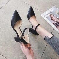 elegant sandals women genuine calfskin leather pointed toe buckle strap summer ladies high heel pumps