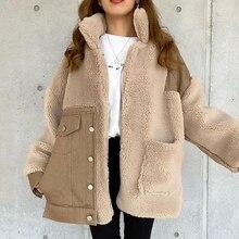 Winter Jacket Warm Coats Women Autumn Fashion Patchwork Buttons Pocket Office Lady Casual Outwear Ja